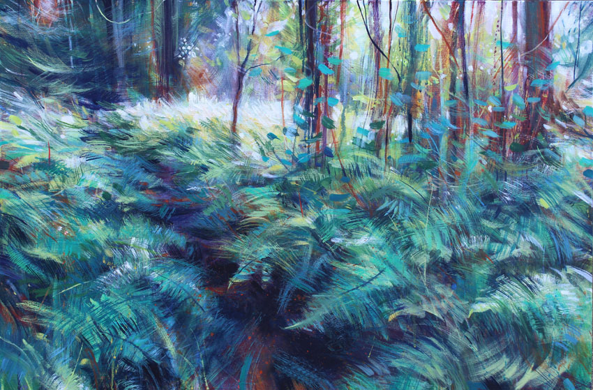 Bracken path and dryad. Acrylic on canvas 91.5 x 60cm..