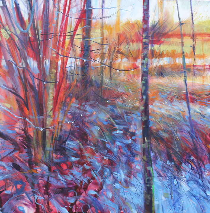 Edge of the woods (After the rain). Acrylic on canvas. 92x92cm..