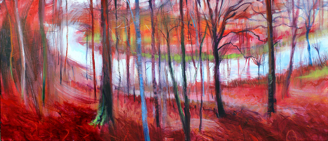 Edge of the woods and Job's Mill stretch. Acrylic on canvas. 137x58.5cm..