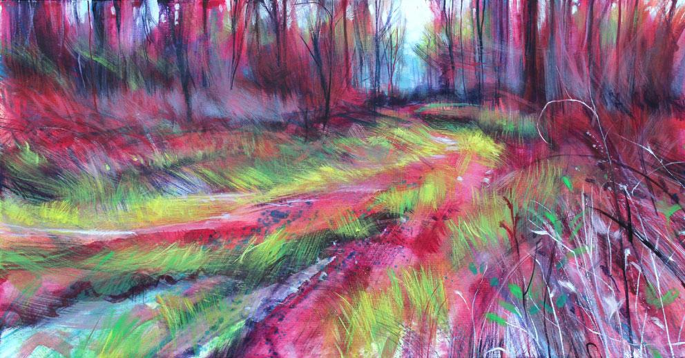Nick Andrew 'Laria Ruba' Acrylic on canvas 107 x 56cm..