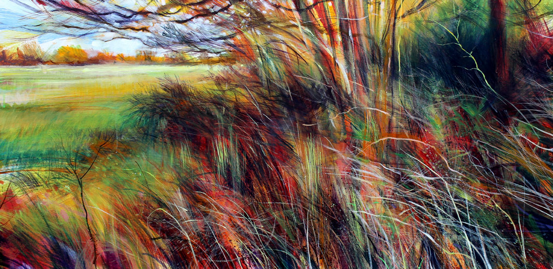 at the entrance to the woods. Acrylic on canvas. 122 x 60cm