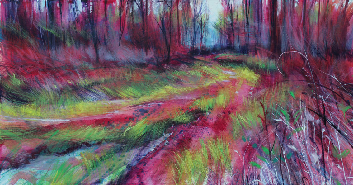 larch view and bramble curl. Acrylic on canvas. 107 x  56cm