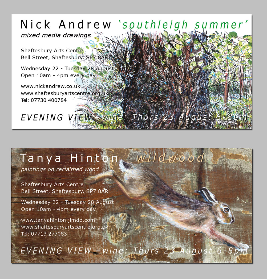 'Southleigh Summer' and 'Wildwood'exhibition card