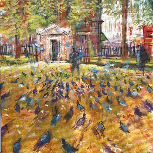 Nick Andrew. 'Lower Grosvenor Gardens. 28 09 16' Mixed Media Study. 21x21cm