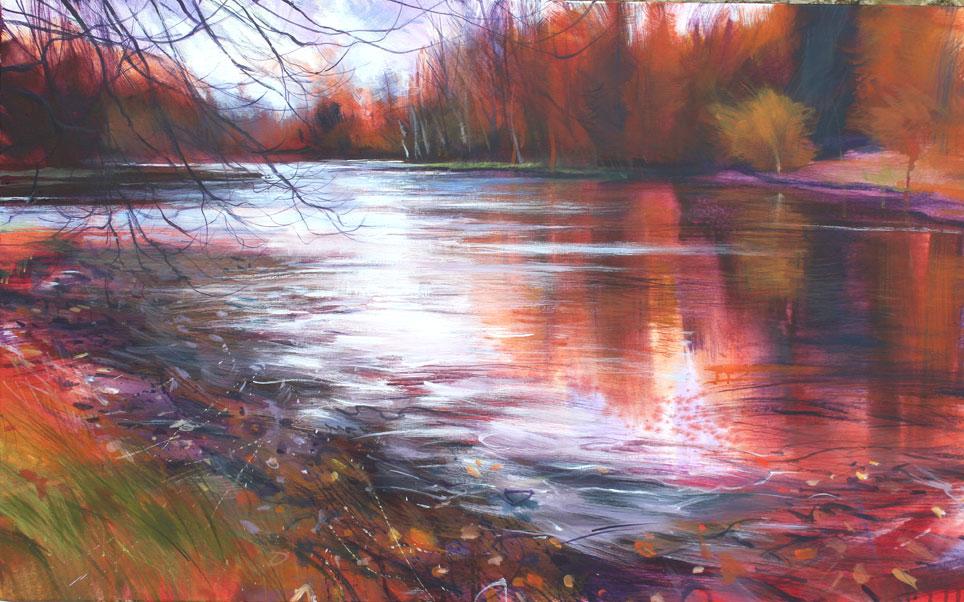 Nick Andrew. 'winter stourhead'. Acrylic. 107 x 66cm