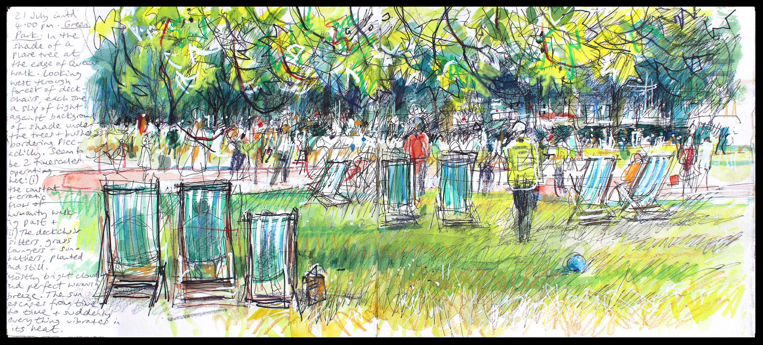002. 'Green Park 21 07 16'. Mixed media sketchbook drawing..