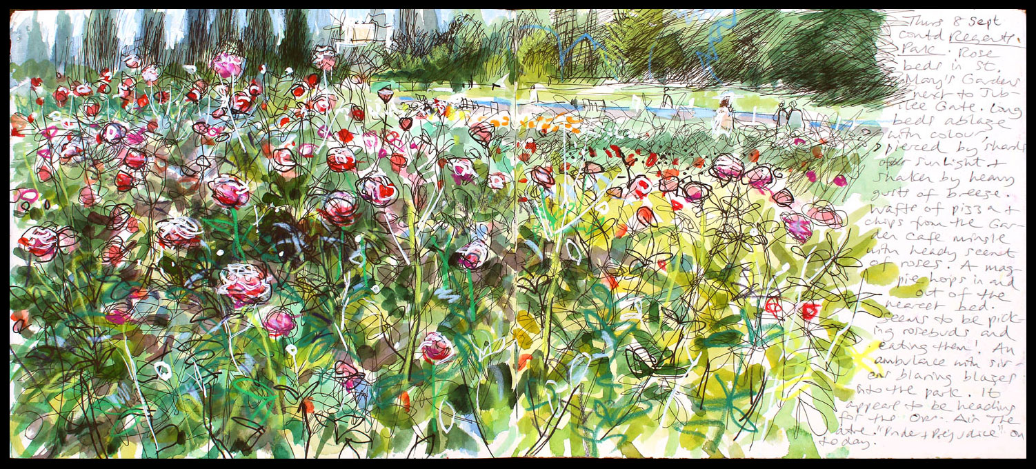 005. 'Rose beds, Regents Park 08 09 16'. Mixed media sketchbook drawing..