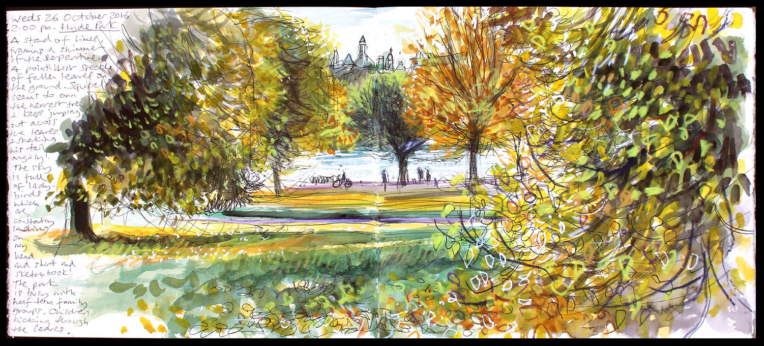 007. 'Hyde Park 26 10 16'. Mixed media sketchbook drawing..