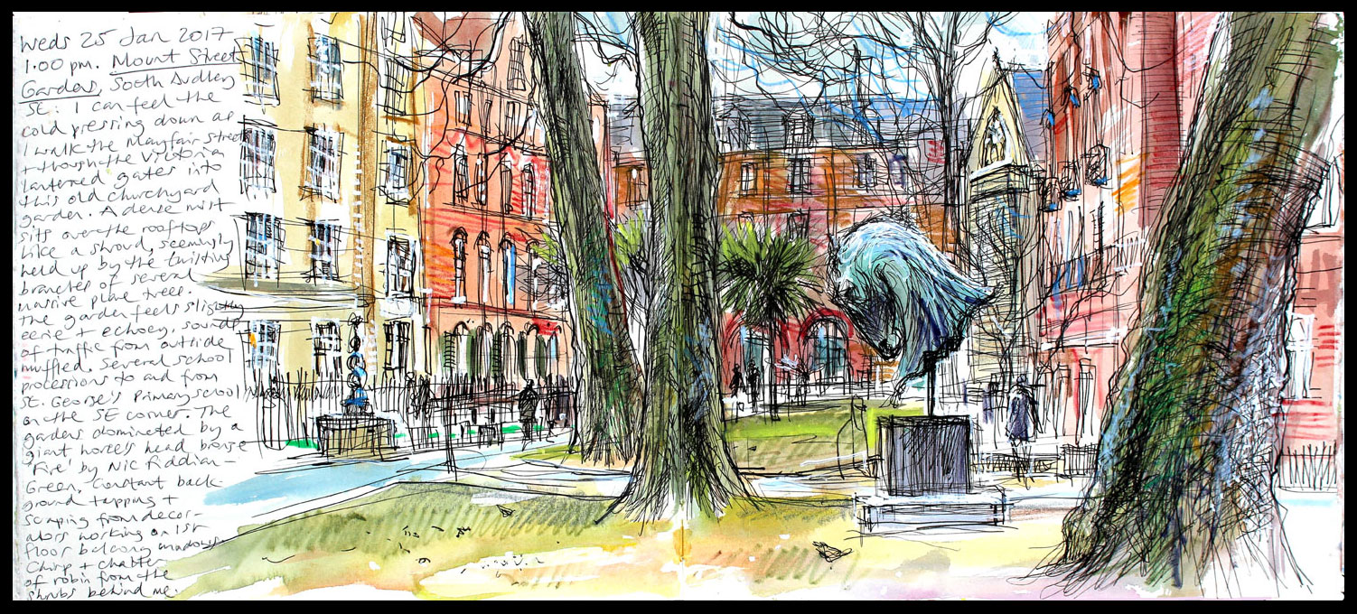 009. 'Mount Street Gardens 25 01 17'. Mixed media sketchbook drawing..