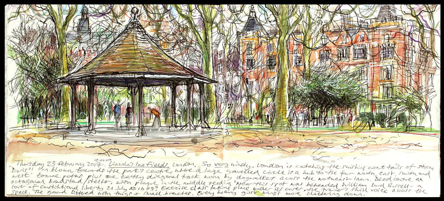 010. 'Lincolns Inn Fields 23 02 17'. Mixed media sketchbook drawing..